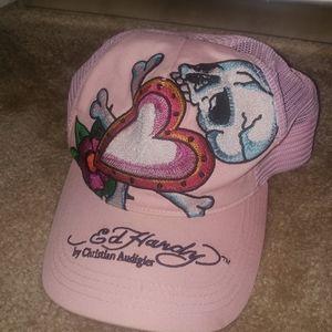 Ed Hardy pink snapback trucker hat